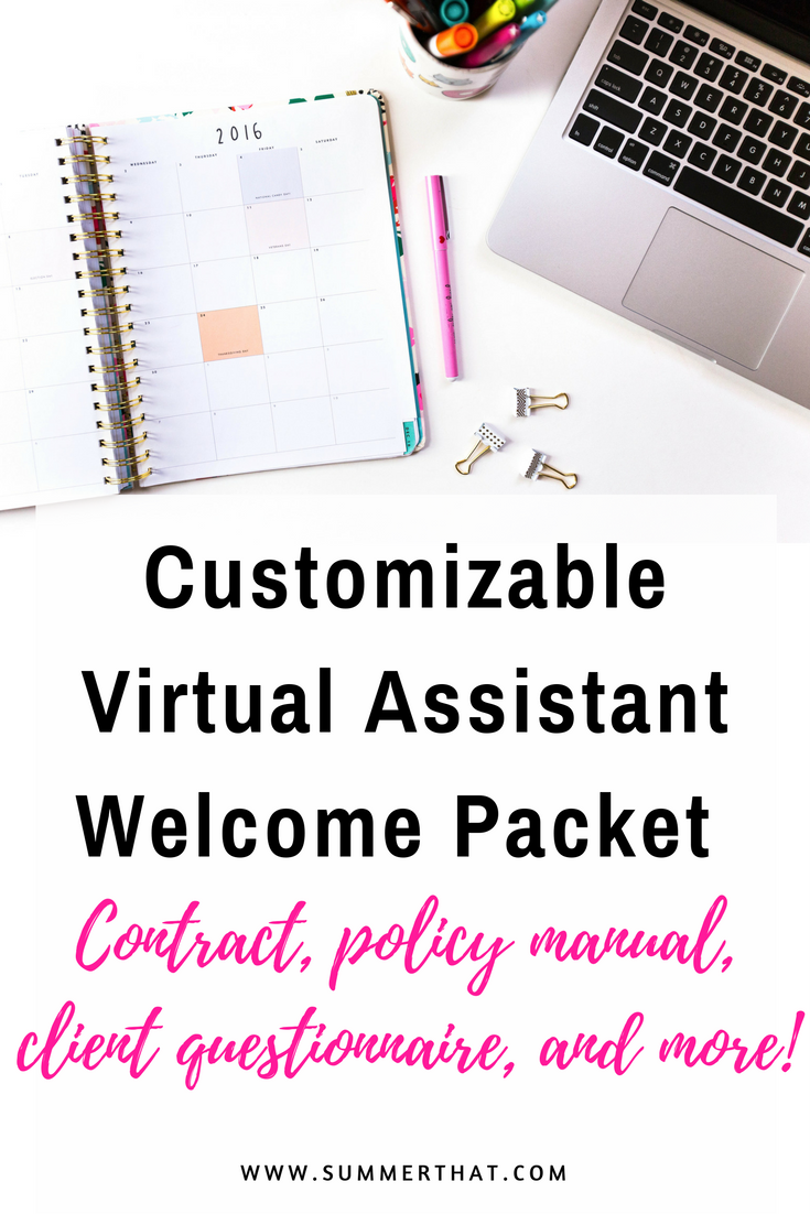 customizable virtual assistant welcome packet welcome letter rates and packages template policies manual. Resume Example. Resume CV Cover Letter