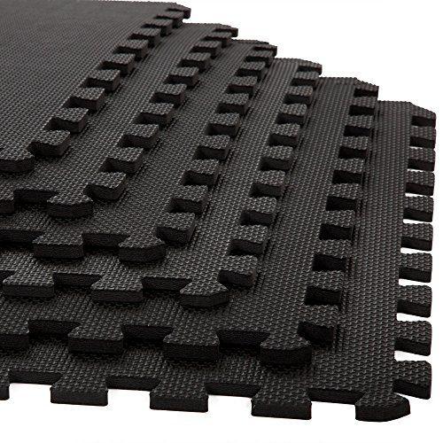 Stalwart 6 Pack Interlocking EVA Foam Floor Mats Black
