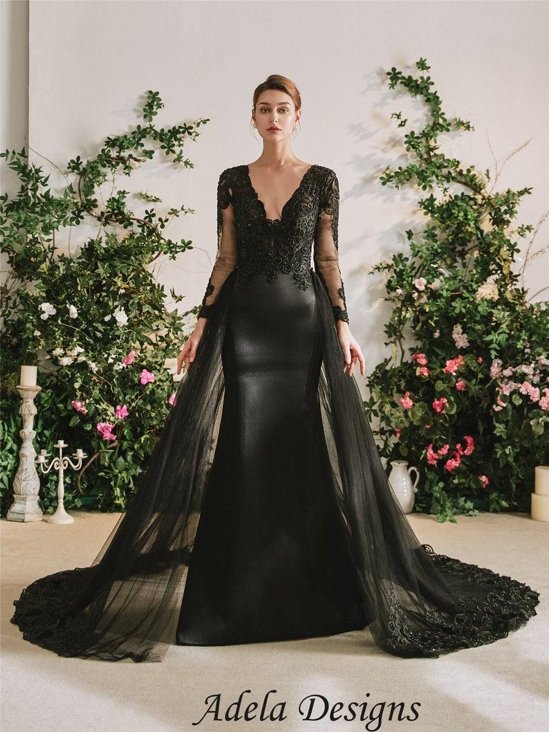 Black Satin Mermaid Gothic Wedding Dress Bridal Gown With Etsy Black Wedding Dresses Gothic Wedding Dress Black Wedding Gowns [ 1058 x 794 Pixel ]