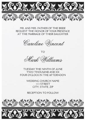 Elegant Black And White Damask Border Wedding Invitation Wedding Invitations Borders Damask Wedding Invitation Wedding Invitations