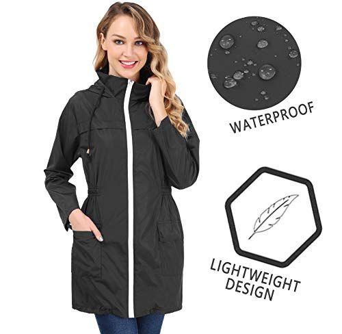 quality design cc222 6c115 FISOUL Giacca Donna Impermeabile Cappotto Lungo Antipioggia ...