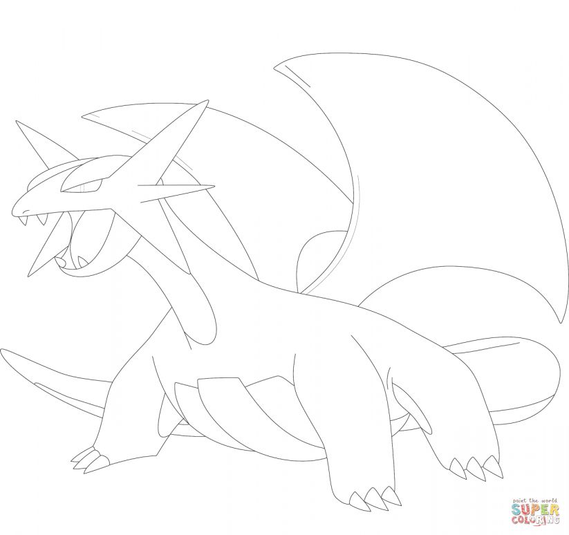 12 Salamence Coloring Page Cartoon In 2020 Pokemon Coloring