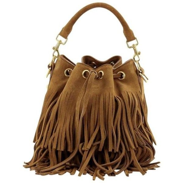 Saint Laurent Fringe Emmanuelle Bucket Bag Suede Small (£570) ❤ liked on Polyvore featuring bags, handbags, shoulder bags, brown purse, brown fringe purse, fringe bucket bags, boho purses and suede purse