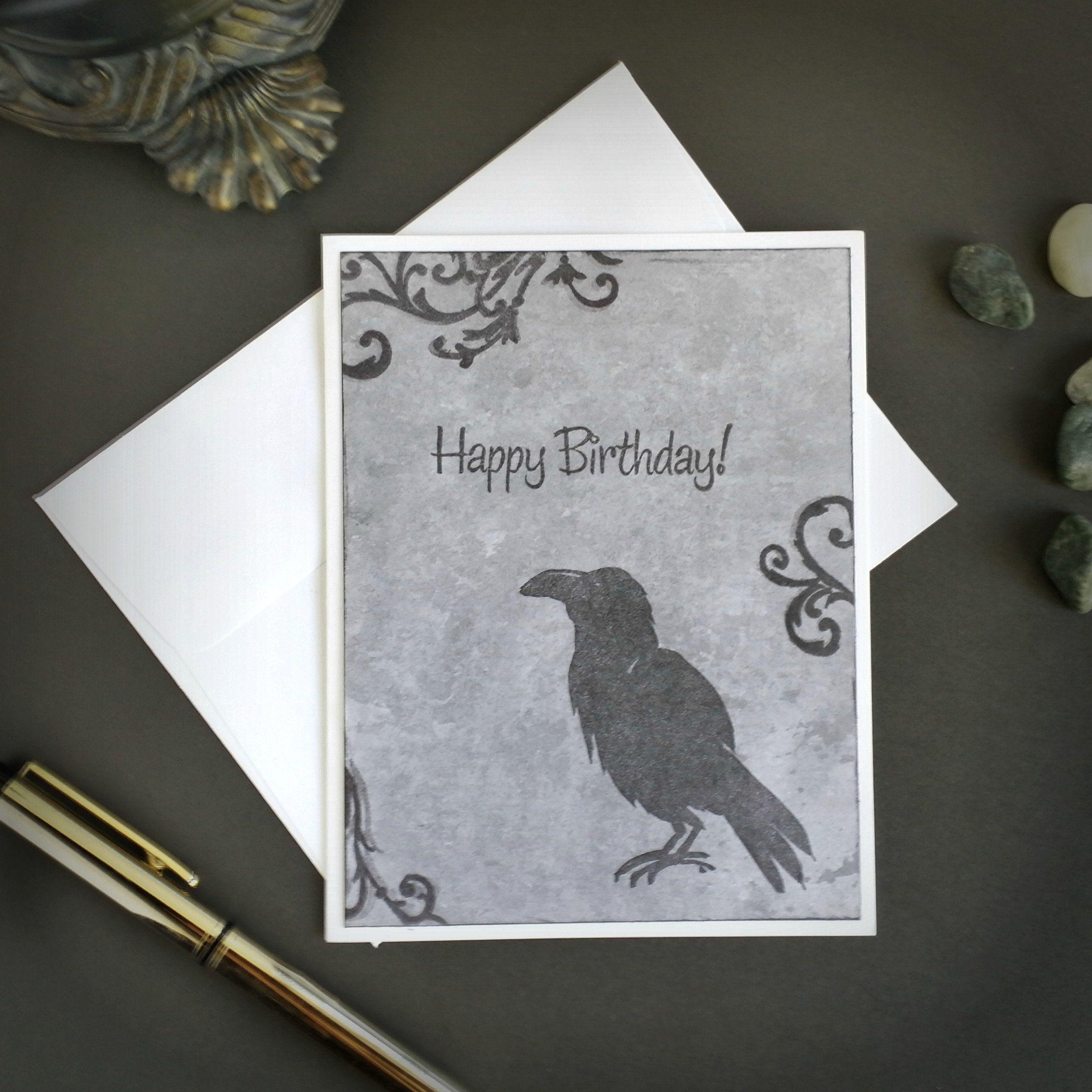 Raven Birthday Card Gothic Birthday Card Gothic Greeting Card Raven Card Dark Birthday Card Dark Card E Goth Greeting Cards Card Making Birthday Birthday Cards