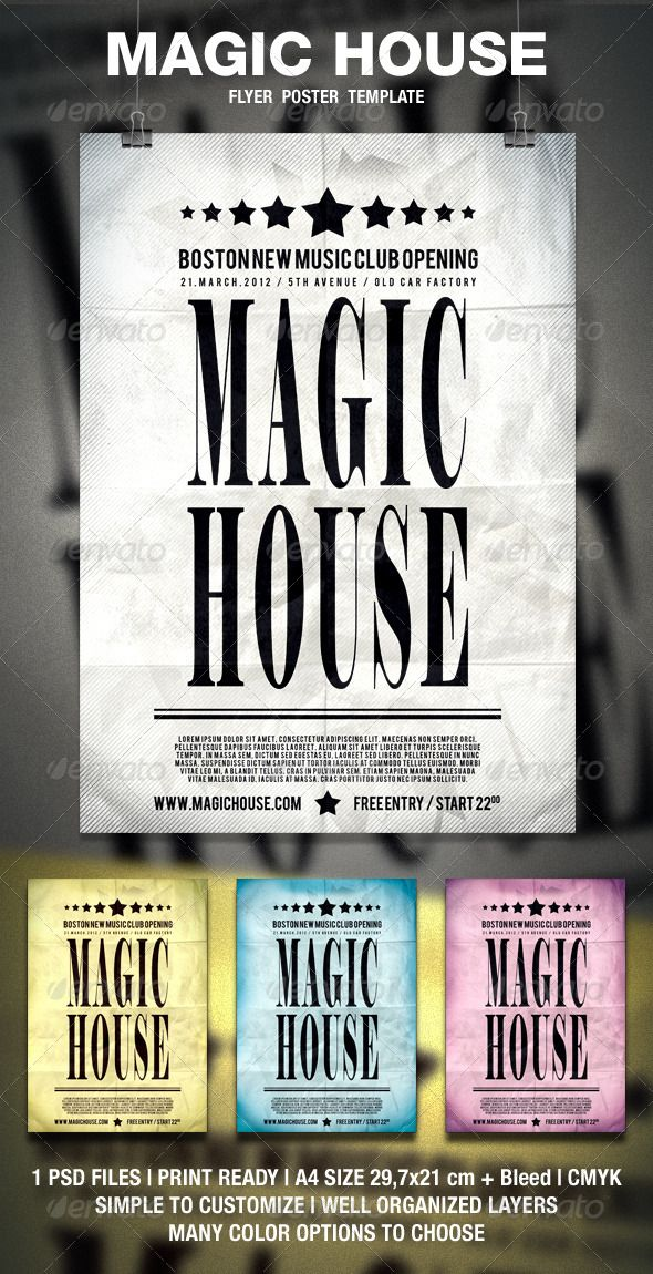 Magic House Typography Flyer  Poster  Typography Event Flyers