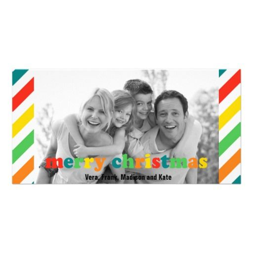 Merry Christmas Stripes Family Photo Card Parenting Parenting Hacks