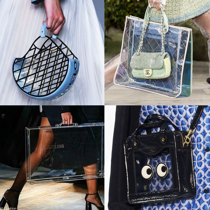 "9fd979c821ef6a Bag Trend for Spring Summer 2018: ""See-through"" sheer plastic bags. In Four  Fashion Weeks: Genny MFW, Chanel PFW, Helmut Lang NYFW, Anya Hindmarch LFW  #SS18"