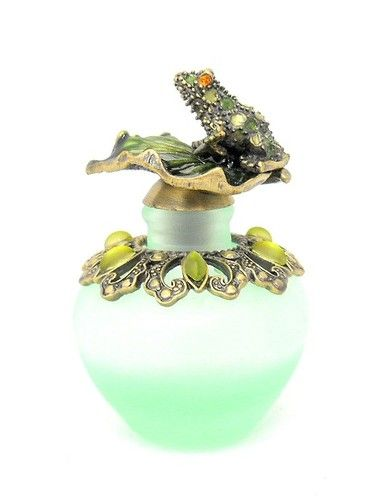 NEW Hand Blown Green Glass Perfume Bottle with Enameled Metal frog and Lily Pad