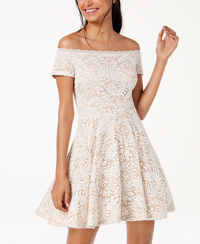 a9491384f0f B Darlin Juniors  Off-The-Shoulder Lace Fit   Flare Dress - Dresses -  Juniors - Macy s