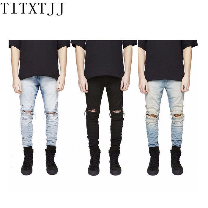 6a5918e685c Top Quality Pants Korean Mens designer Clothes Fashion denim jumpsuit Black/  Blue skinny destroyed ripped distressed jeans Men
