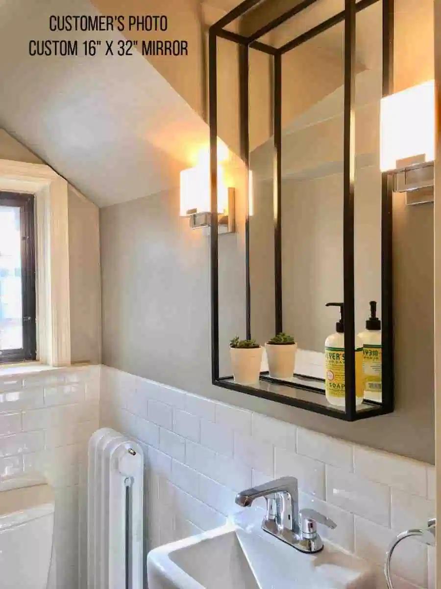 Modern Industrial Black Steel Metal Double Framed Bathroom Mirror With A Shelf Simplicity In The South In 2021 Bathroom Mirror With Shelf Framed Bathroom Mirror Bathroom Mirror [ 1200 x 900 Pixel ]