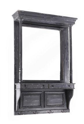 antique black mdf fir wood wall mirror w shelf iron hooks k d rh pinterest es