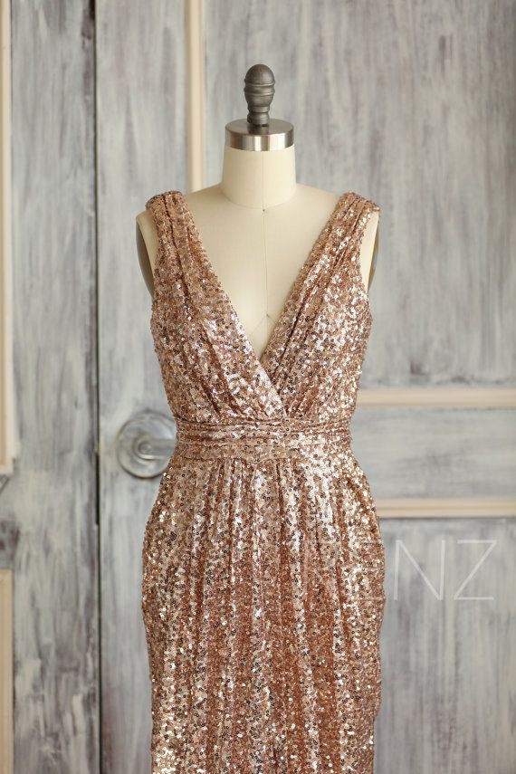bfd1cc8fea5 2015 Rose Gold Bridesmaid dress Long Gold Sequin by RenzRags