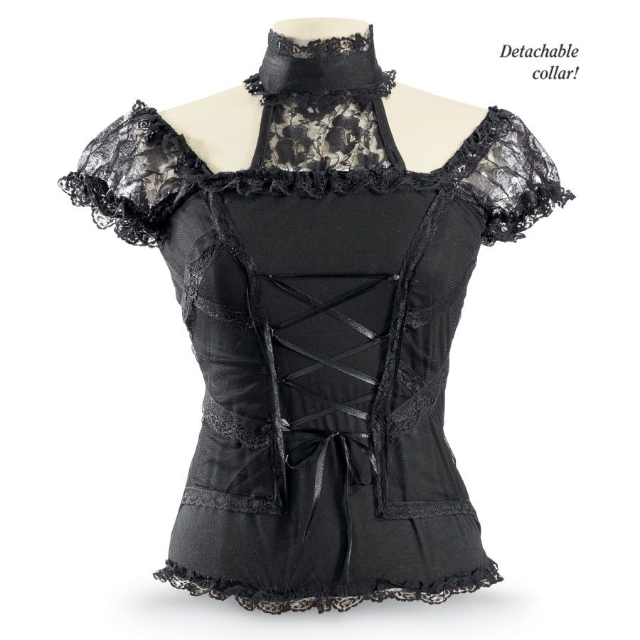 Gothic Lace Top  Exclusive! Gothica. Goth glamour—British style! Ultra-chic and ultra-sexy, this black top features a sheer, cross-ribboned front overlay, lacy shoulders, and a sensational collar that unbuttons and detaches for a less formal—or shall we say, less forbidding?—look. Lace-trimmed hem.
