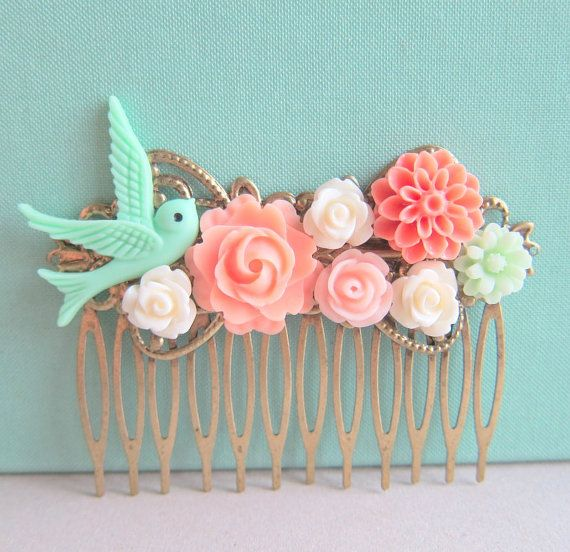 Jewelsalem - Coral Mint Green Wedding Hair Comb Bridesmaid Gift Peach Pink Mint Bridal Head Piece Floral Flower Bird Pastel Colors Soft Romantic