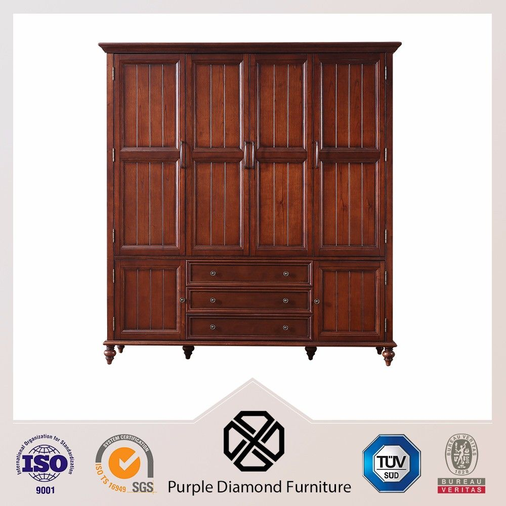 Muebles de dormitorio de madera maciza armario ropero-Guardarropas ...