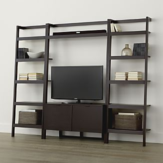 Sawyer Mocha Leaning Media Stand with Two 24.5'' Bookcases