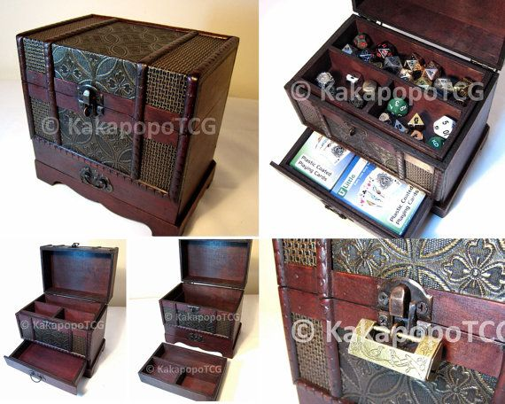 Wooden Case Chest For Collectible Fantasy Coin Dice