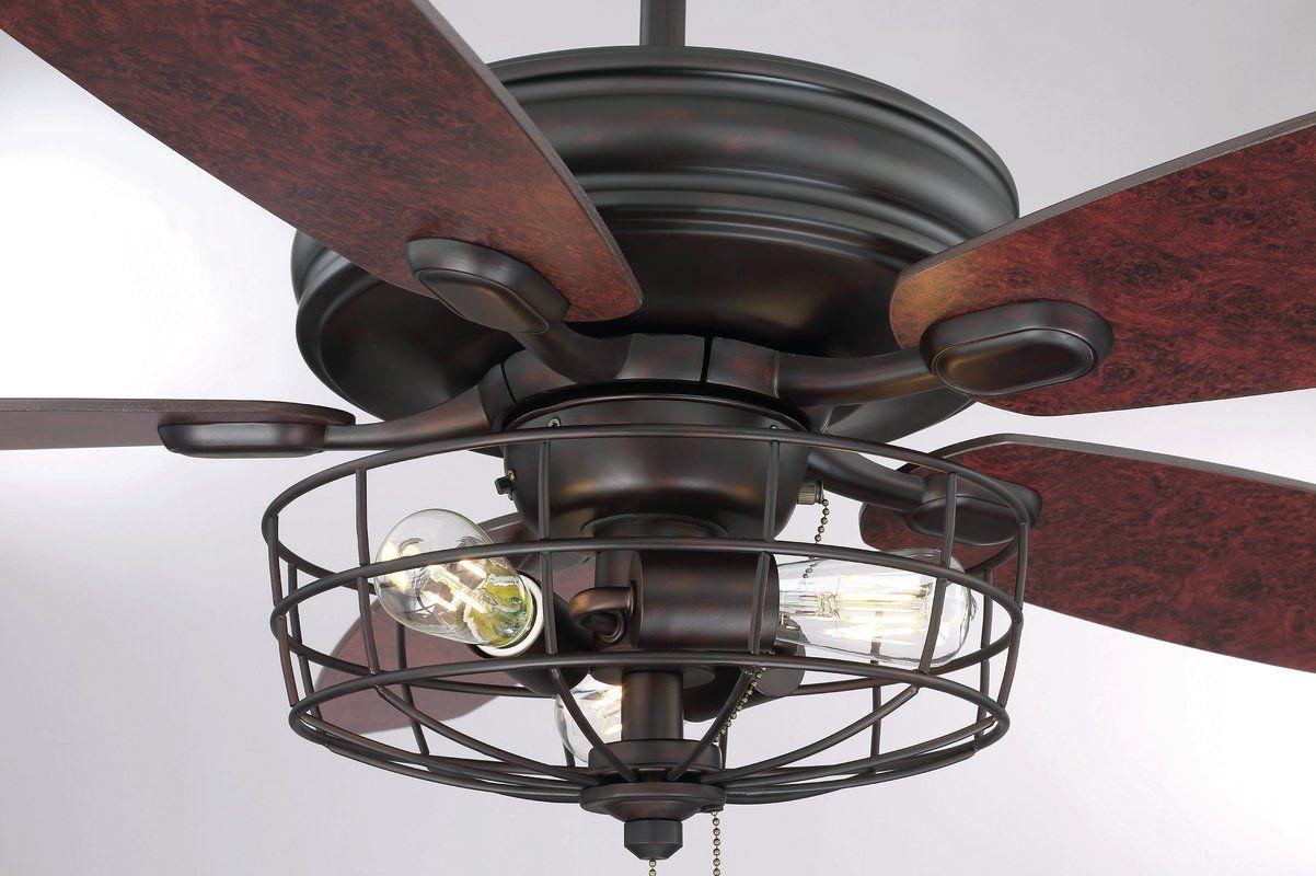 "52"" Glenpool 5 Blade Ceiling Fan, Light Kit Included"