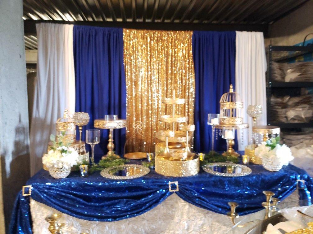 Royal Blue And Gold Dessert Table Display Blue Gold Wedding Blue Wedding Decorations Royal Blue Wedding Theme