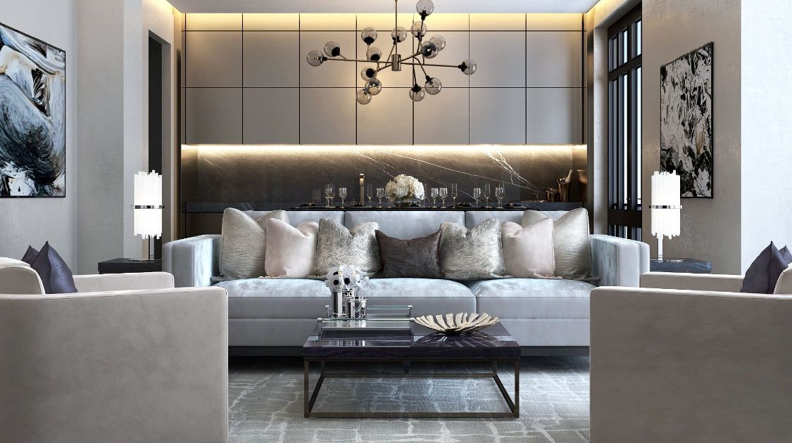 Midcentury modern, transitional, traditional living room ...