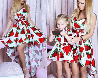 Watermelon - matching mother and me dresses, family outfits, mother and daughter dresses, child dress, girl dress, family look