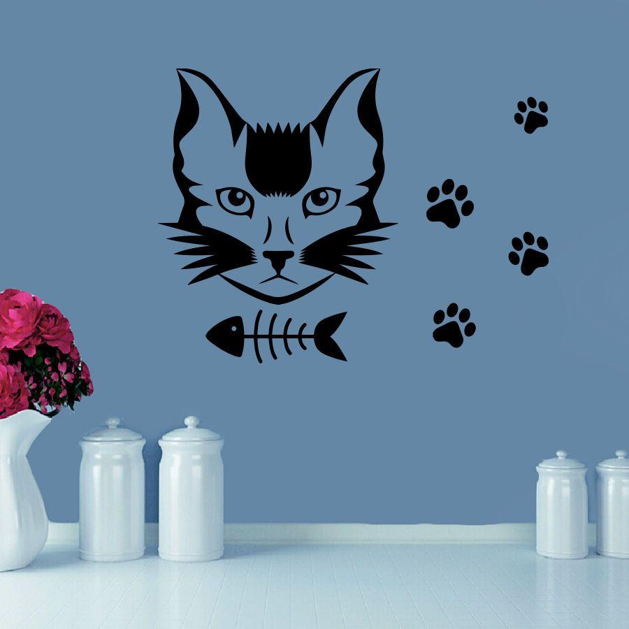 Wall Decal Cat Paws Decals Vinyl Sticker Grooming Salon Pet Shop - Vinyl decal cat pinterest