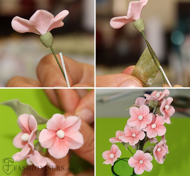 Gumpaste Cherry Blossom Flowers Tutorial Sugar Flowers Tutorial Fondant Flower Tutorial Cake Decorating Flowers