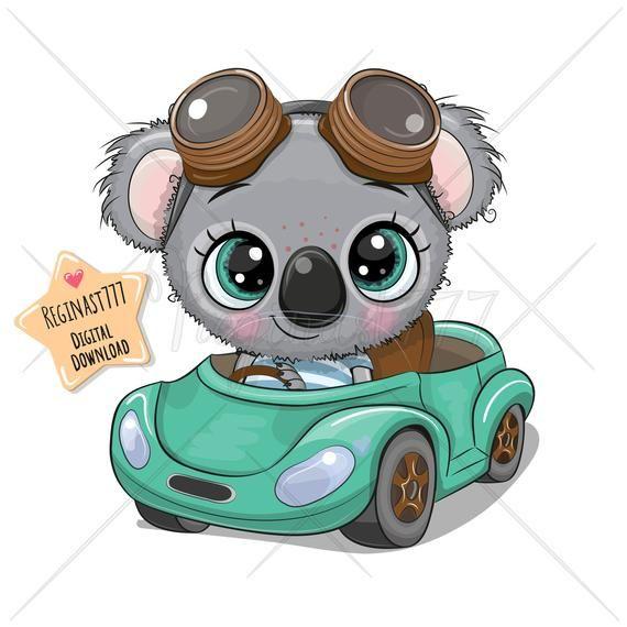 Cute Koala Png Car Boy Digital Download Clipart Cartoon Etsy In 2021 Koala Drawing Cartoon Animals Cute Cartoon