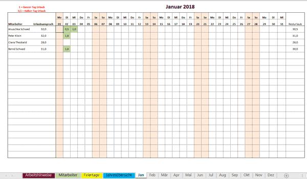Excel Urlaubsplaner Kostenlose Vorlage Zum