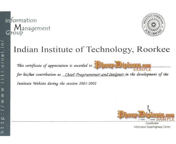 Indian Institute of Technology, Roorkee India Fake Diploma Sample - fresh certificates of appreciation examples