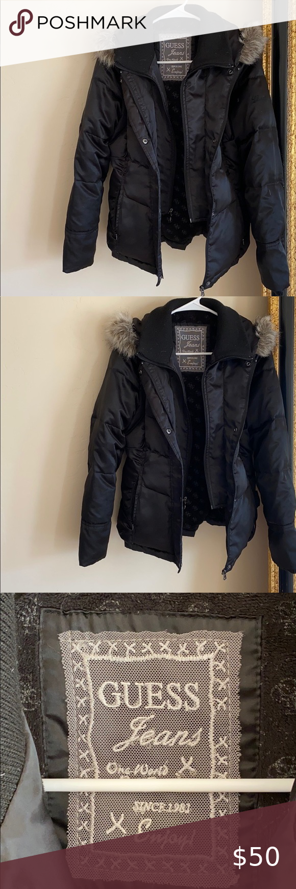 Guess Black Fur Hooded Puffer Coat Jacket Size S Puffer Coat Fur Hood Coats Jackets Women Red Puffer Jacket [ 1740 x 580 Pixel ]