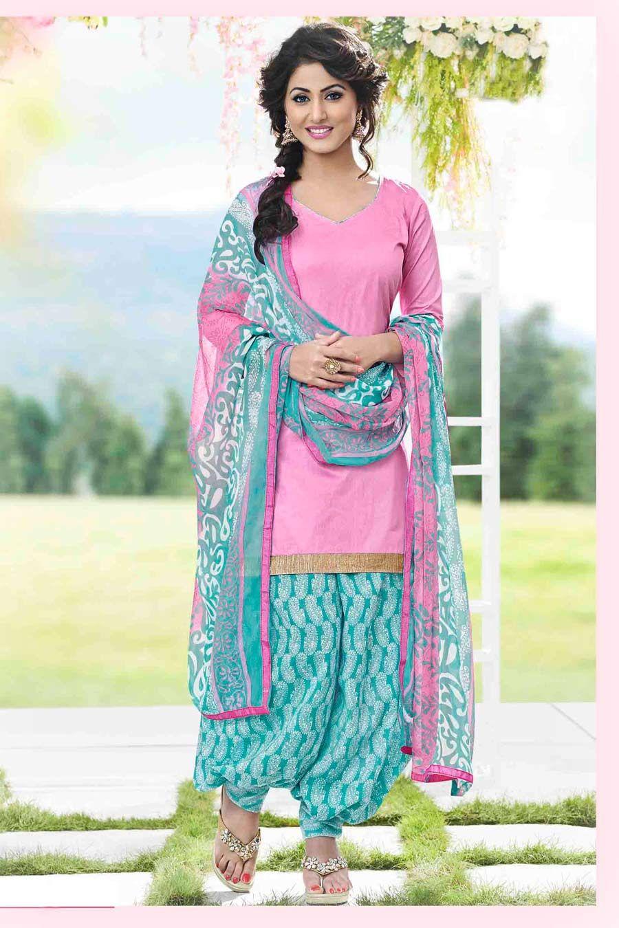 Pink & Aqua Unstitch Cotton Patiala Suit With Chiffon Dupatta ...