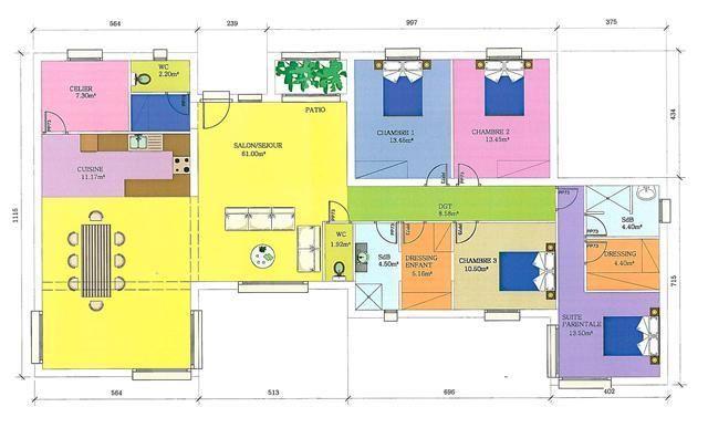 Plan de maison moderne plain pied gratuit PLAN MAISON Pinterest