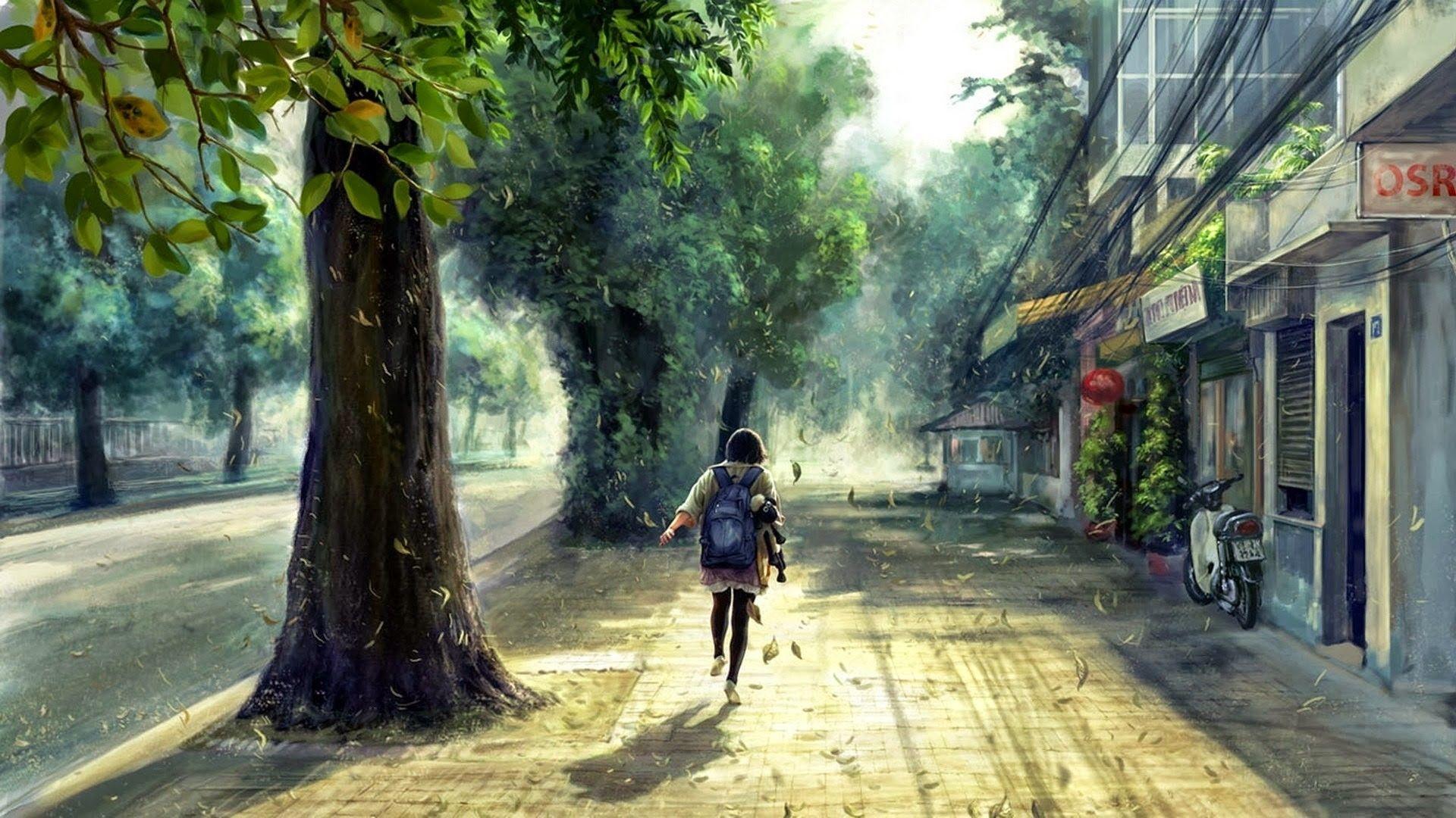Anime Scenery Street Wallpaper HD Desktop 48929 Wallpaper