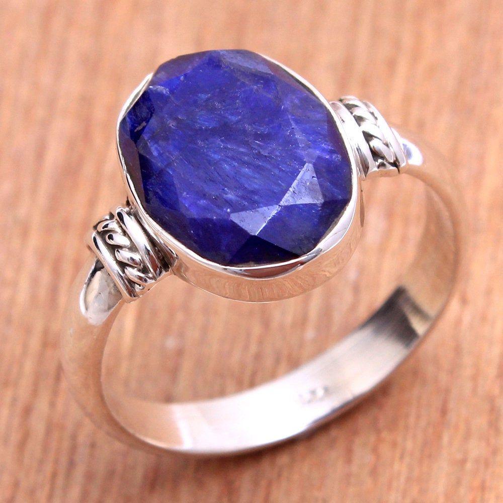 925 Sterling Silver Mens Ring Blue Sapphire Unique Handmade Turkish Jewelry 10 Ebay Blue Sapphire Rings Mens Silver Rings Rings For Men