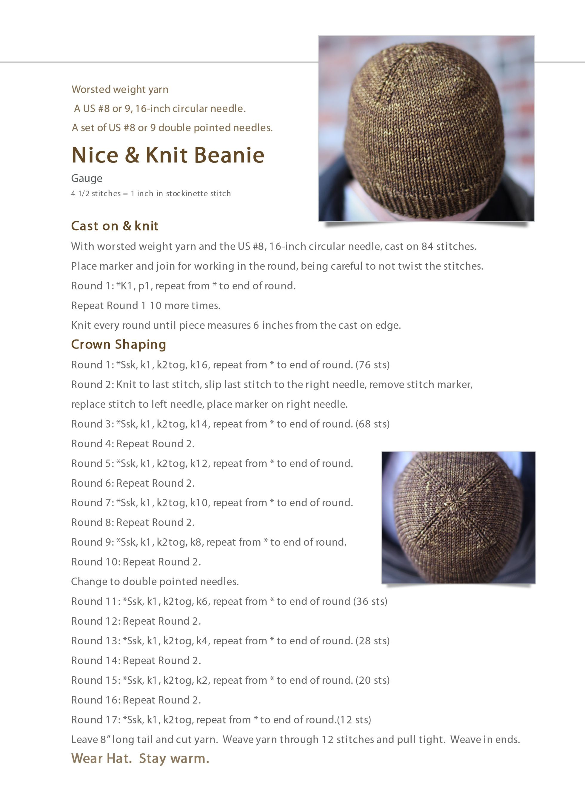 Nice & Knit Beanie: Free Hat Pattern | Knitting pattern | Pinterest ...