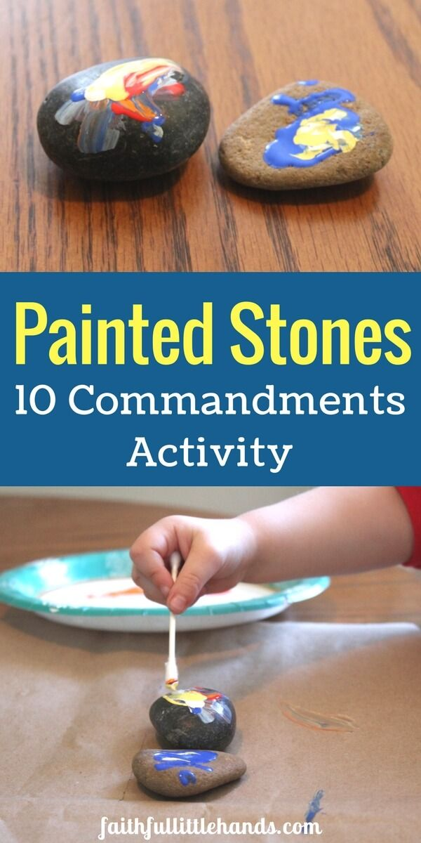 10 Commandments Activity: 2 Painted Stones - Easy toddler Bible