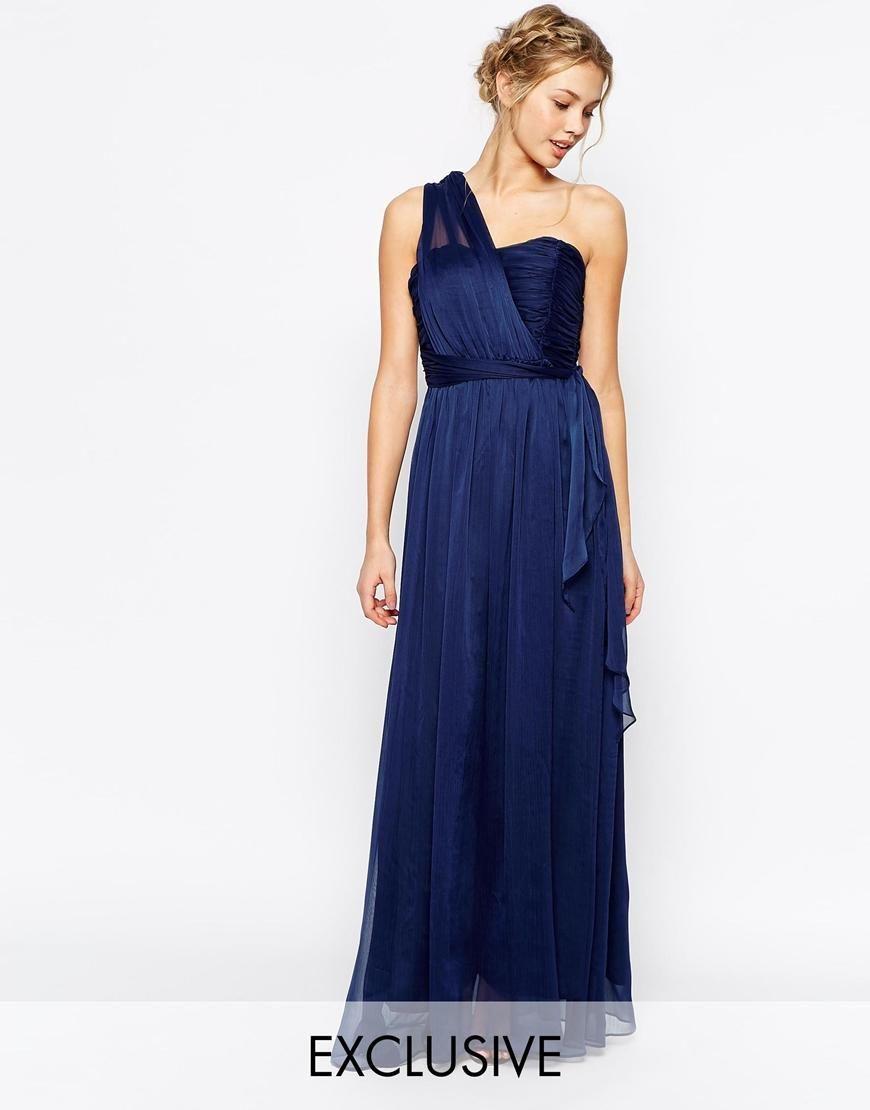 True Decadence True Decadence Wrap One Shoulder Maxi Prom Dress At