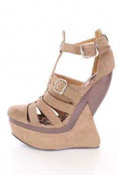 b9986a327d4 Taupe Caged Platform Wedges Faux Suede