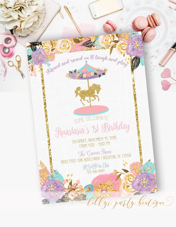 Carousel Birthday Invitation, Carousel First Birthday, Watercolor ...