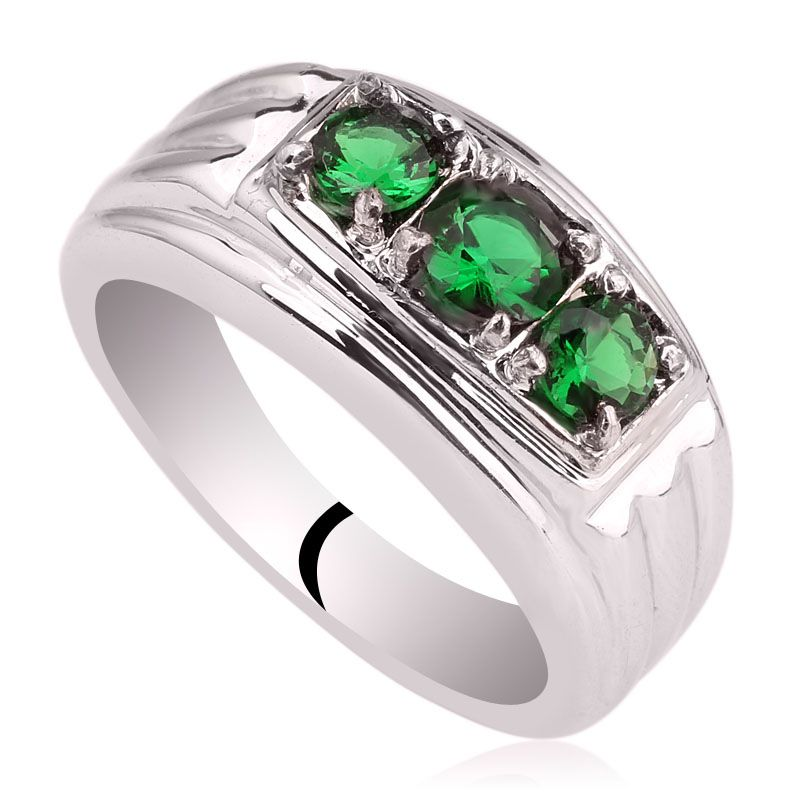 Men Genuine 925 Sterling Silver Ring 3-stone Design Jewelry Heavy ...