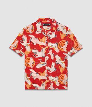 18d9a6735 Mens Tsuru Hawaiian Shirt (red) - Image 6 | Clothes | Shirts, Shirt ...