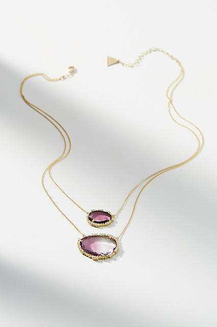 serefina Double Stone Pendant Necklace LtonOUg