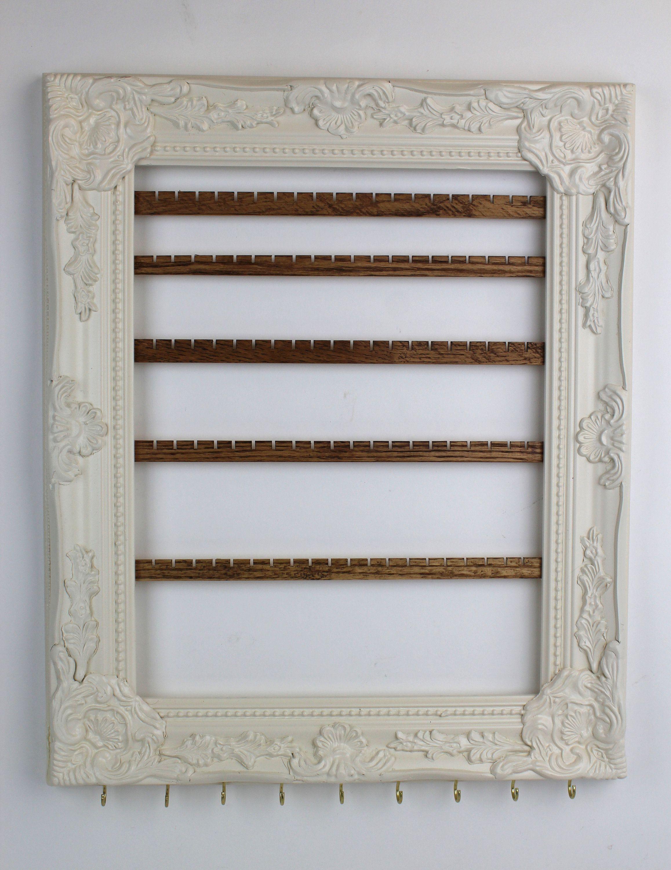 Cream Wall Mount Jewelry Organizer, Framed Earring Hanger ...