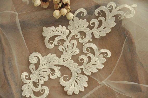 Pair bridal lace applique for wedding gown veils clutches
