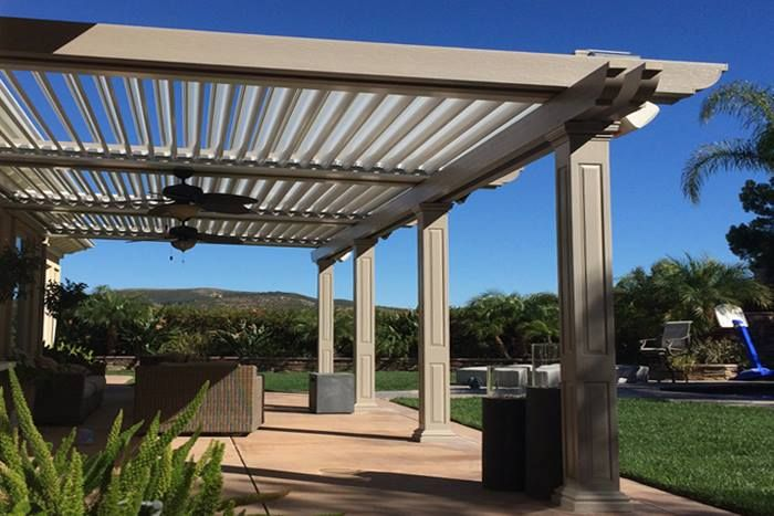 Add Lights Heaters And Fans To Your Louvered Patio Cover Its Perfect For Any Outdoor Space Outdoor Fireplace Patio Pergola Shade Backyard Pergola
