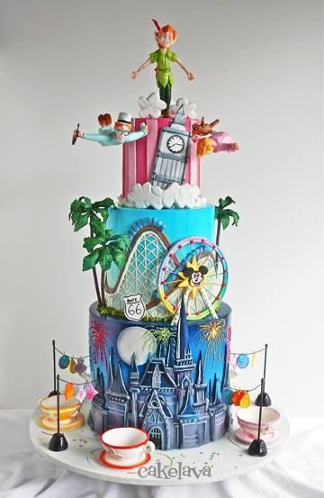 Disneyland Cake. I love the top portion with Peter Pan. I'd have a whole cake of Peter Pan . | Disney Cakes | Disney Cake Ideas | Disney Cakes for Adults | Disneyland Cake |