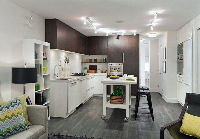 cocina moderna con isla móvil cocinas Pinterest Cocina moderna - cocinas con isla