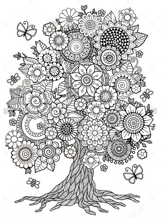 Flower Tree Printable Coloring Page Coloring Books Mandala Coloring Pages Coloring Pages